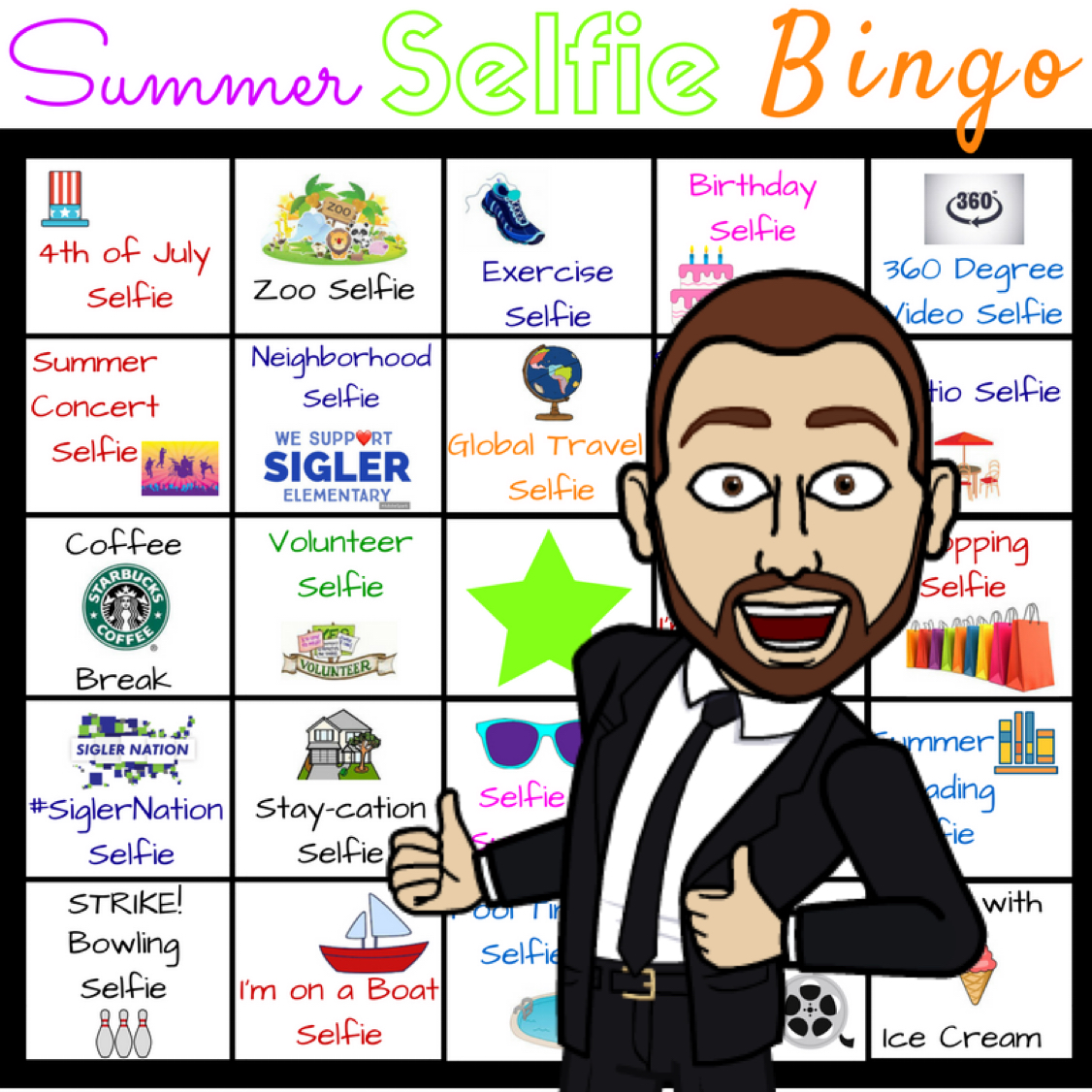 Building School Culture – #SummerSelfieBingo